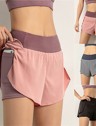 cheap Exercise, Fitness & Yoga-Women's High Waist Running Shorts 2 in 1 Running Shorts with Built In Shorts 2 in 1 Liner Shorts Bottoms Breathable Quick Dry Black Pink Dusty Blue Spandex Yoga Gym Workout Running Sports Activewear