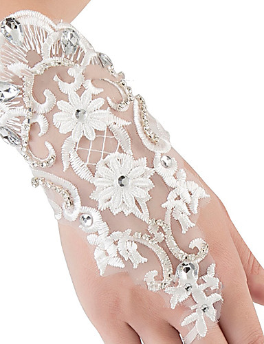 cheap Costumes Jewelry-Gloves Lace Fingerless Satin For Bride Cosplay Halloween Carnival Women's Costume Jewelry Fashion Jewelry