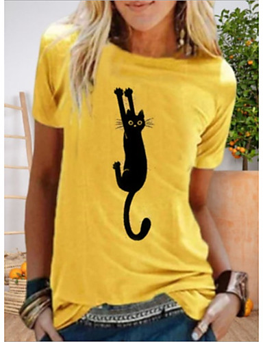 cheap Women's T-shirts-Women's T-shirt Cat Animal Printing Round Neck Tops Basic Top Yellow