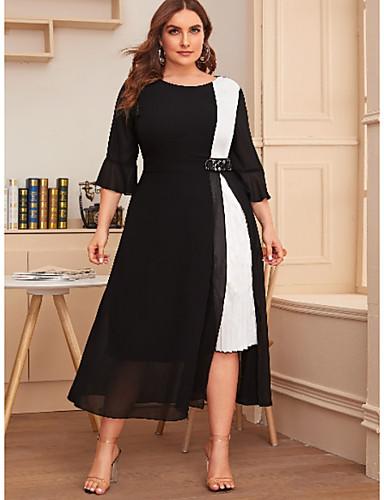 cheap Plus Size Dresses-Women's A-Line Dress Midi Dress - 3/4 Length Sleeve Color Block Summer Casual 2020 Black Wine Navy Blue XL XXL XXXL XXXXL