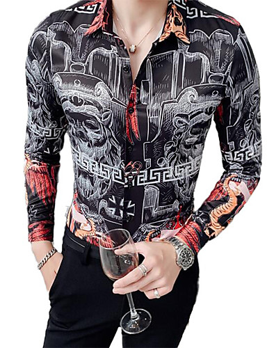 cheap Men's Shirts-Men's Graphic Print Shirt Sexy Street chic Daily Going out White / Black