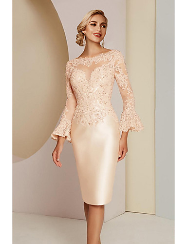 cheap Mother of the Bride Dresses-Sheath / Column Mother of the Bride Dress Elegant Vintage Plus Size Jewel Neck Knee Length Lace Satin Long Sleeve with Lace 2020