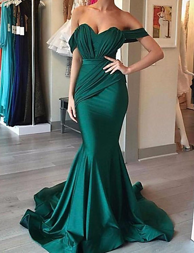 cheap Evening Dresses-Mermaid / Trumpet Reformation Amante Sexy Engagement Formal Evening Dress Sweetheart Neckline Sleeveless Sweep / Brush Train Charmeuse with Sleek Draping 2020