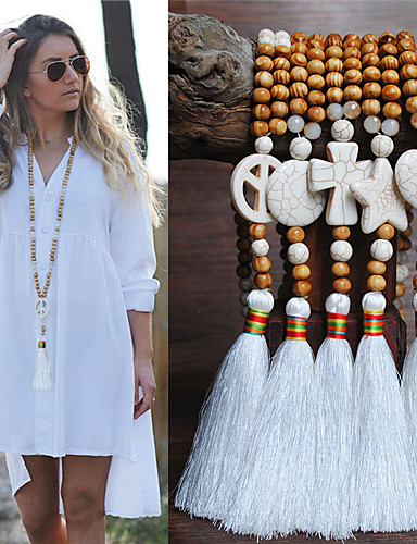 cheap Women's Accessories-Women's Necklace Long Necklace Tassel European Trendy Ethnic Fashion Wood Stone 90 cm Necklace Jewelry For Halloween Street Birthday Party Beach Festival