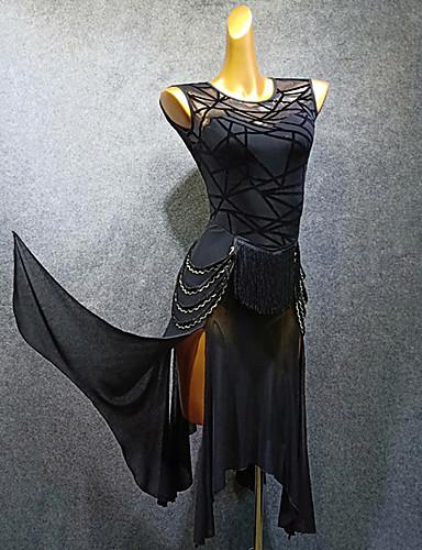 hesapli Latin Dans Giysileri-Latin Dansı Elbise Püsküllü Malzeme Kombini Kadın's Eğitim Performans Kolsuz Örümcek Ağı Flok