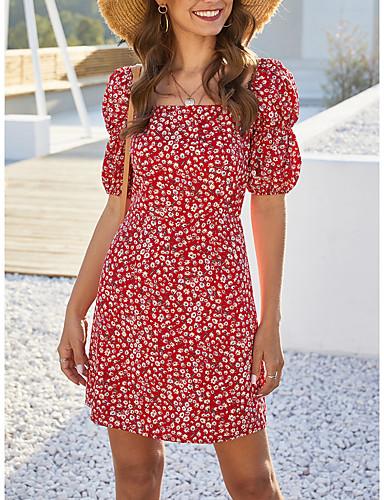 preiswerte Für Junge Frauen-Damen A-Linie Kleid Minikleid - Kurze Ärmel Blumen Sommer mumu Boho 2020 Rote S M L XL
