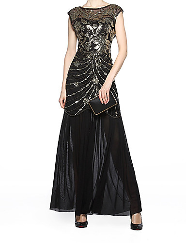 cheap Historical & Vintage Costumes-The Great Gatsby Roaring 20s Vintage 1920s Flapper Dress Women's Sequins Sequin Costume Black Vintage Cosplay Party Prom