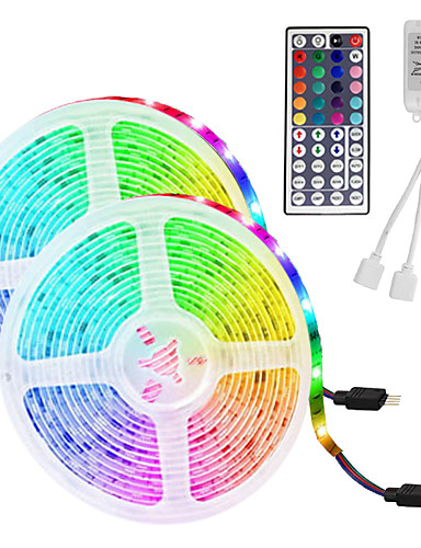 cheap Home Decor Best Sellers-LED Strip Light (2*5M)10M/32.8ft 3528 RGB 600leds 8mm Strips Lighting Flexible Color Changing with 44 Key IR Remote Ideal for Home Kitchen Christmas TV Back Lights DC 12V