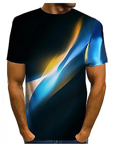cheap Men's Clothing-Men's 3D Graphic T-shirt Basic Daily Round Neck Dark Yellow / White / Black / Purple / Yellow / Blushing Pink / Orange / Champagne / Short Sleeve