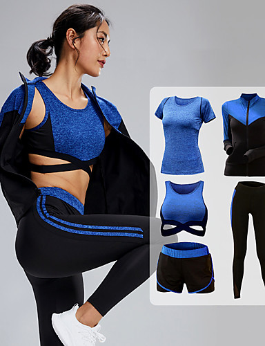 cheap Exercise, Fitness & Yoga-Women's 5pcs Tracksuit Yoga Suit Zipper Wirefree Fashion Purple Blue Gray Elastane Yoga Running Fitness Shorts Sports Bra Jacket Long Sleeve Sport Activewear Breathable Quick Dry Tummy Control Butt