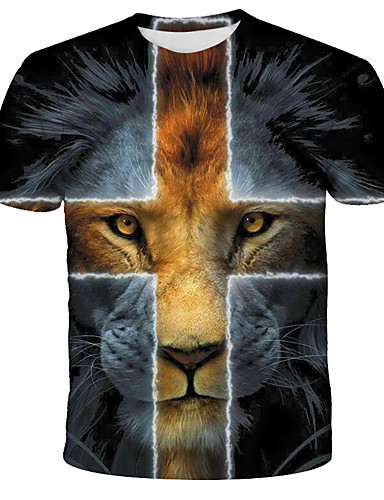 cheap Men's Clothing-Men's Graphic Lion Print T-shirt Street chic Exaggerated Daily Holiday Rainbow