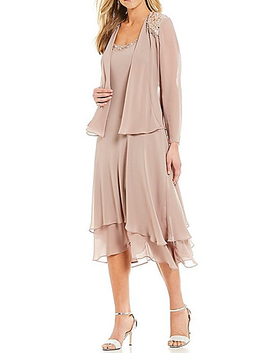 cheap Mother of the Bride Dresses-Two Piece A-Line Mother of the Bride Dress Elegant Jewel Neck Tea Length Chiffon Long Sleeve with Beading Cascading Ruffles 2020