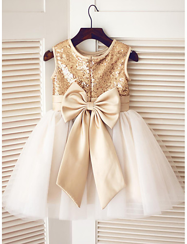 cheap Clearance-A-Line Knee Length Pageant Flower Girl Dresses - Tulle / Sequined Sleeveless Jewel Neck with Bow(s) / Sequin