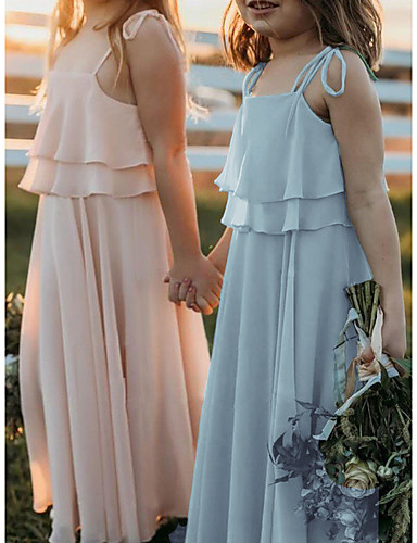 cheap Junior Bridesmaid Dresses-A-Line Strap Floor Length Chiffon Junior Bridesmaid Dress with Side Draping / First Communion