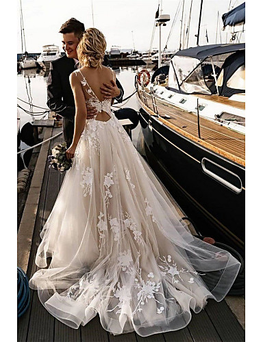 cheap Wedding Dresses-A-Line Wedding Dresses V Neck Court Train Tulle Spaghetti Strap Backless with Appliques 2020