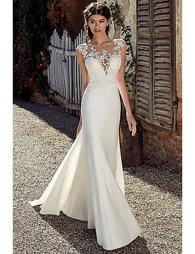 cheap Wedding Dresses-A-Line Wedding Dresses Bateau Neck Court Train Chiffon Lace Tulle Cap Sleeve Illusion Detail Backless with Lace Appliques 2020