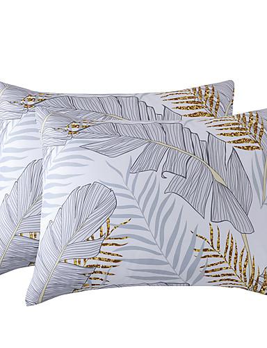 cheap Sheet Sets& Pillowcases-Bed Pillow Case Shams Soft Bedding Pillowcases Cotton Marble Pillowcase Grid Stripe White Gray Set of 2 (2PCS Pillowcases Without Insert)