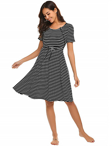 cheap Maternity Dresses-Women's A-Line Dress Knee Length Dress - Short Sleeves Striped Summer Casual Chinoiserie 2020 Black Dark Gray S M L XL XXL