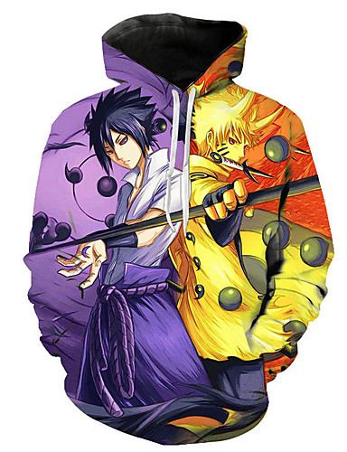 cheap Everyday Cosplay Anime Hoodies & T-Shirts-Inspired by Naruto Naruto Uzumaki Uchiha Sasuke Cosplay Costume Hoodie Polyster Print Printing Hoodie For Men's / Women's
