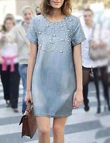 저렴한 신상 드레스-여성용 A 라인 드레스 데님 무릎 길이 드레스 - 짧은 소매 컬러 블럭 여름 작업 / 오피스 2020 밝은 블루 S M L XL XXL XXXL XXXXL