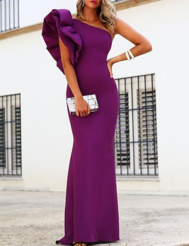 tanie Sukienki na specjalne okazje-Syrena Elegancja Minimalistyczny Gość weselny Kolacja oficjalna Sukienka Na jedno ramię Krótki rękaw Sięgająca podłoża Rozciągliwa satyna z Falbany 2020