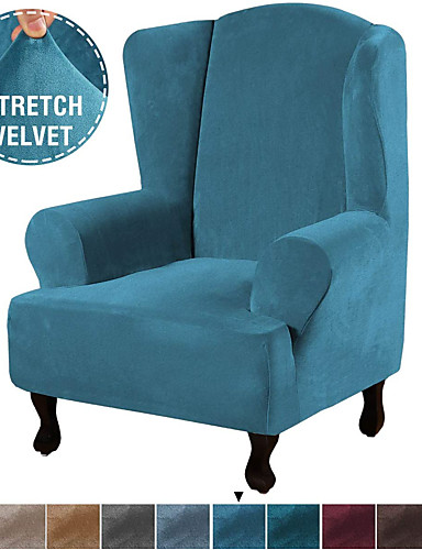 cheap Chair Cover-1 Piece Super Stretch Stylish Furniture Cover/Wingback Chair Cover Slipcover Featuring Velvet Plush Fabric Modern High Stretch Rich Velvet Slipcover
