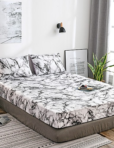 cheap Bedding Sets-White Marble Fitted Sheet Bedding Soft Microfiber Sheets White Marble Pattern Soft Hypo-allergenic Wrinkle Resistant Durable Deep Pocket Bedding Bottom Sheet Single/Full/Queen/King