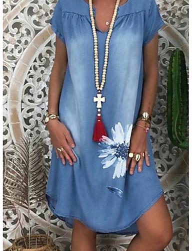 Χαμηλού Κόστους Νέες Αφίξεις-Γυναικεία Φορέματα τζιν Φόρεμα μέχρι το γόνατο - Κοντομάνικο Φλοράλ Στάμπα Καλοκαίρι Λαιμόκοψη V Καθημερινό Διακοπές 2020 Μπλε Απαλό M L XL XXL