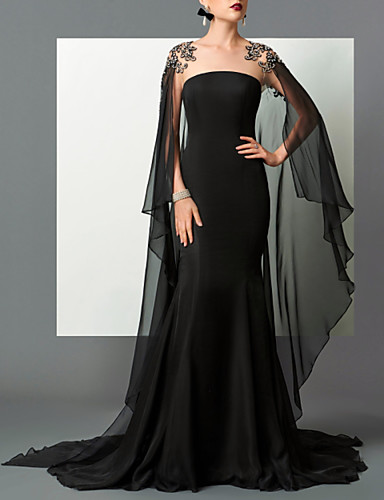 cheap Special Occasion Dresses-Mermaid / Trumpet Elegant Empire Engagement Formal Evening Dress Strapless Sleeveless Sweep / Brush Train Chiffon with Sleek 2020