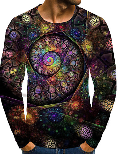 cheap Men's Clothing-Men's Plus Size T-shirt Graphic 3D Print Print Tops Street chic Exaggerated Round Neck Rainbow / Long Sleeve