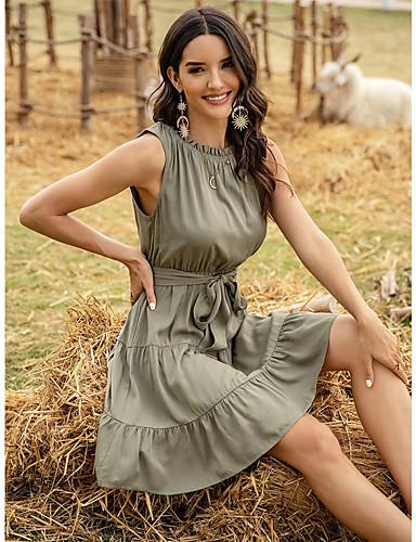 tanie Dla młodych kobiet-Damskie Sukienka ołówkowa Mini sukienka - Bez rękawów Jednokolorowe Patchwork Lato Casual 2020 Zielony S M L XL