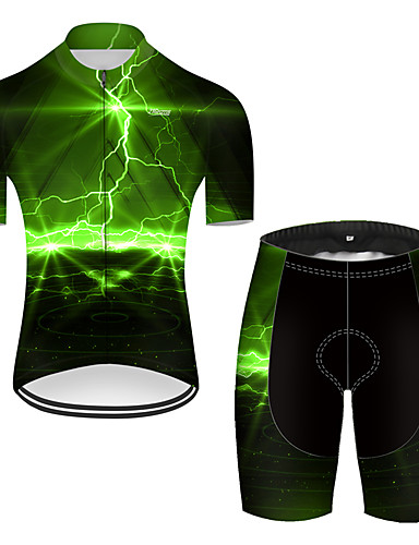 cheap Cycling Jersey & Shorts / Pants Sets-21Grams Men's Short Sleeve Cycling Jersey with Shorts Nylon Polyester Black / Green 3D Lightning Gradient Bike Clothing Suit Breathable 3D Pad Quick Dry Ultraviolet Resistant Reflective Strips Sports