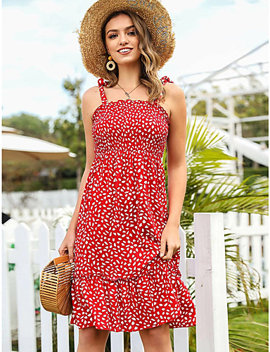 abordables Pour Les Jeunes Femmes-Robe Longueur Genou Femme Robe Trapèze Sans Manches Eté - Bohème Ruché Géométrique Bateau Mince 2020 Rouge S M L XL