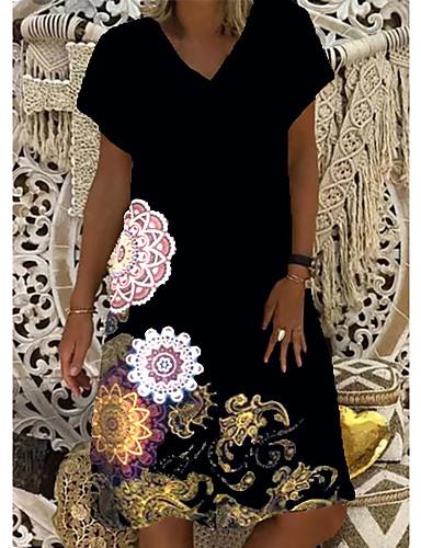 povoljno Male crne haljine-Žene Shift haljina Haljina do koljena - Kratkih rukava Cvjetni print Print Ljeto V izrez Ležerne prilike 2020 Crn Plava Red S M L XL XXL 3XL 4XL 5XL