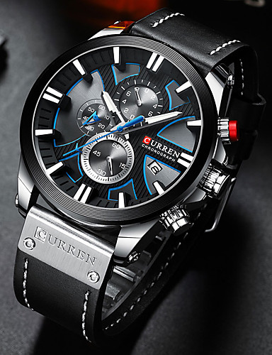 cheap Leather band Watches-CURREN Men's Sport Watch Quartz Stylish PU Leather Black / Blue / Brown 30 m Water Resistant / Waterproof Altimeter Calendar / date / day Analog Vintage Cool - Black Blue Silver / Chronograph