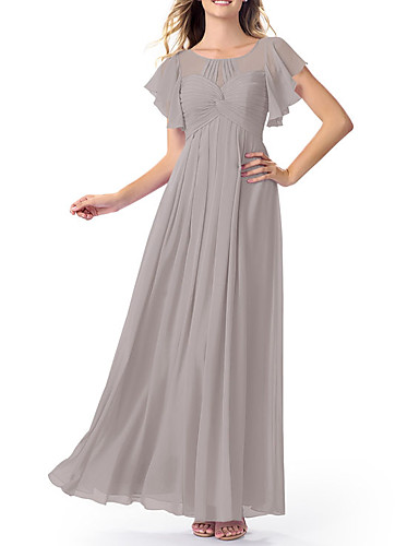 cheap Bridesmaid Dresses-A-Line Jewel Neck Floor Length Chiffon Bridesmaid Dress with Ruching