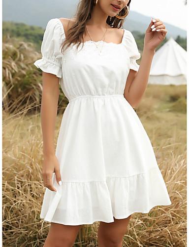preiswerte Für Junge Frauen-Damen Swing Kleid Minikleid - Kurze Ärmel Volltonfarbe Sommer Freizeit Ausgehen 2020 Weiß S M L XL
