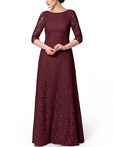 olcso Örömanya ruhák-Szűk szabású Örömanya ruha Elegáns Ékszer Földig érő Csipke Háromnegyedes val vel Hímzés 2020