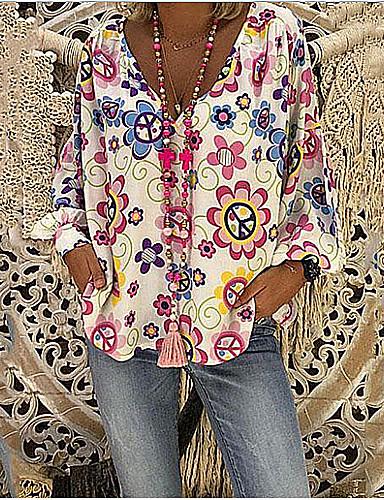 abordables Oferta de lo más vendido-Mujer Tallas Grandes Floral Estampado Corte Ancho Blusa Casual Boho Diario Escote en Pico Blanco