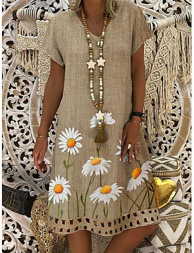povoljno Floral Patterns Dresses-Žene Shift haljina Haljina do koljena - Kratkih rukava Tratinčica Cvjetni print Print Ljeto V izrez Ležerne prilike 2020 Žutomrk M L XL XXL XXXL
