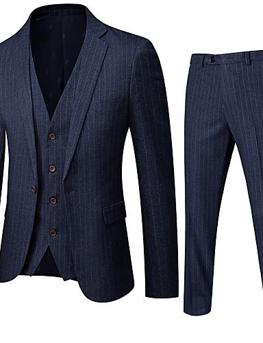 お買い得  メンズブレザー&スーツ-男性用 シングルブレスト ノッチドラペル スーツ ストライプ ネイビーブルー US32 / UK32 / EU40 / US34 / UK34 / EU42 / US36 / UK36 / EU44