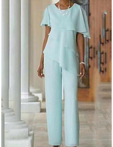 cheap Mother of the Bride Dresses-Pantsuit / Jumpsuit Mother of the Bride Dress Elegant Jewel Neck Floor Length Chiffon Short Sleeve with Cascading Ruffles 2020