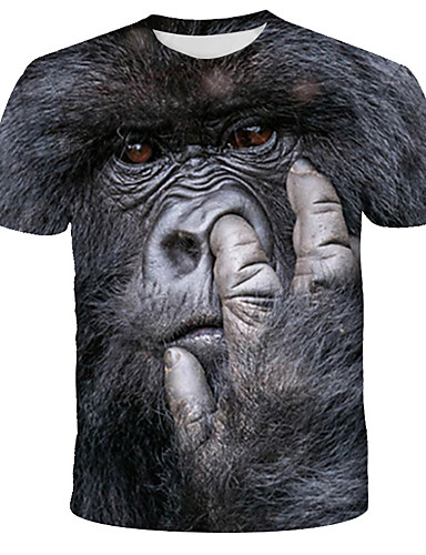 cheap Men's Tees & Tank Tops-Men's T-shirt Graphic Animal Print Tops Street chic Exaggerated Round Neck Black / Short Sleeve