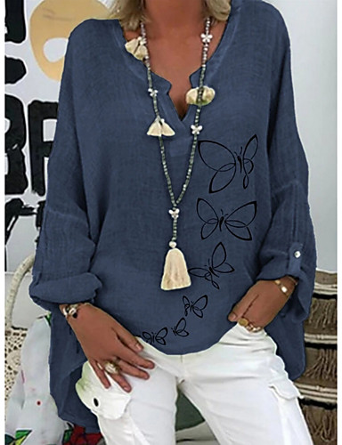 Χαμηλού Κόστους Γυναικείες Μπλούζες-Γυναικεία Μπλούζα Ζώο Άριστος Λαιμόκοψη V Καθημερινά Καλοκαίρι Λευκό Βυσσινί Ανθισμένο Ροζ Τ M L XL 2XL 3XL