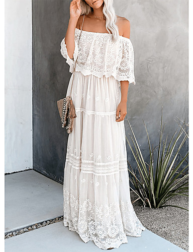 cheap For Young Women-Women's Swing Dress Maxi long Dress - Half Sleeve Solid Color Lace Backless Summer Sexy 2020 White S M L XL