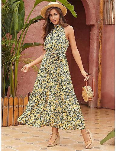 cheap Women's Dresses-Women's Swing Dress Maxi long Dress - Sleeveless Floral Summer Mumu 2020 Yellow S M L XL