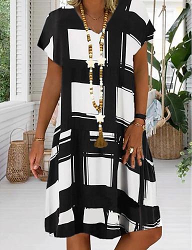 cheap Summer Dresses-Women's Plus Size Sundress Knee Length Dress - Short Sleeve Geometric Print Summer V Neck Casual Vacation 2020 Black Red Royal Blue S M L XL XXL XXXL XXXXL XXXXXL