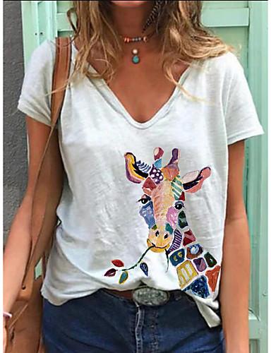 cheap Women's T-shirts-Women's T-shirt Animal Print V Neck Tops Loose Cotton Basic Basic Top White Blue Blushing Pink