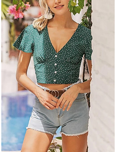 cheap For Young Women-Women's Blouse Floral Print V Neck Tops Summer Green