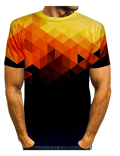 cheap Men's Clothing-Men's T shirt Graphic Print Short Sleeve Daily Tops Basic Yellow